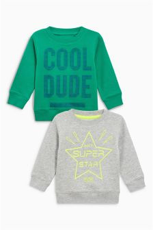 Superstar Cool Dude Crew Tops Two Pack (3mths-6yrs)