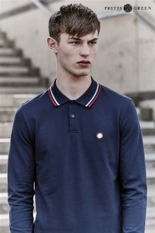 Pretty Green Navy Long Sleeve Polo