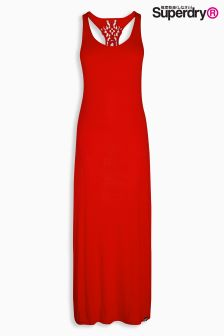 Superdry Urban Red Crochet Back Maxi Dress