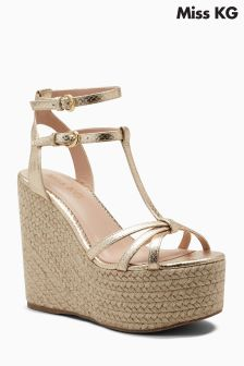 Miss KG Gold Pamela T-Bar Platform Wedge
