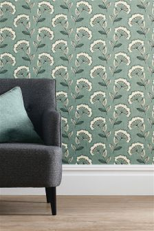 Teal Retro Cow Parsley Wallpaper