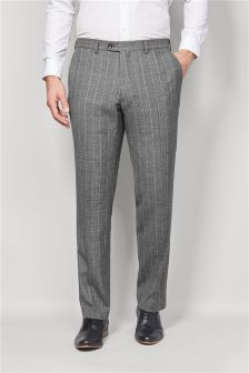 British Wool Check Suit: Tailored Fit Trousers