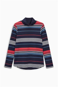 Stripe Long Sleeve Funnel Neck Top (3-16yrs)