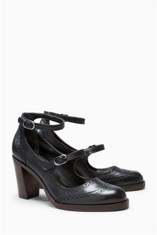 Leather Multi Strap Court Shoes