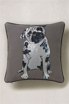 Sequin Detail Pug Cushion