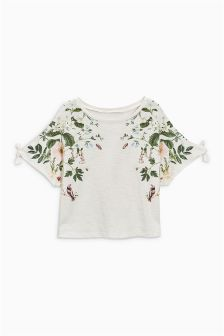 Floral Glitter Short Sleeve T-Shirt (3-16yrs)