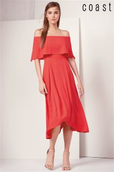 Coast Orange Bandeau Frill Dress