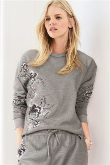 Embroidered Bird Sweat Top