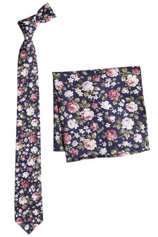 Cotton Floral Tie With Pocket Square Set