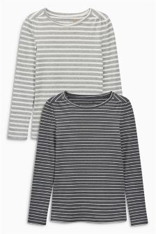 Ribbed Stripe Tops Two Pack (3-16yrs)