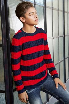 Cable Stripe Jumper (3-16yrs)