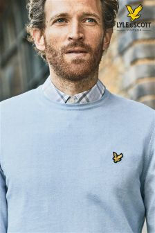Lyle & Scott Blue Cotton Merino Jumper