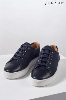 Jigsaw Navy Leather Trainer