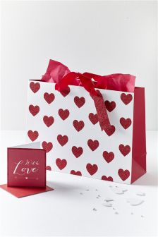Valentine's Day Bag, Card And Tissue Set