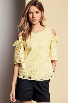 Broderie Cold Shoulder Top