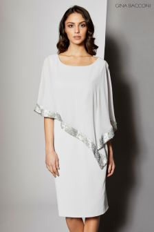 Gina Bacconi Silver Crepe And Chiffon Dress With Sequin Trim
