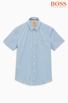 Boss Orange Blue Eglam Short Sleeve Stripe Shirt