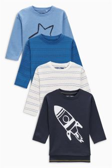 Linear Space Long Sleeve T-Shirts Four Pack (3mths-6yrs)