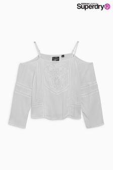 Superdry Jungle Cream Cold Shoulder Embroidered Top