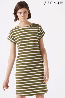 Jigsaw Green T-Shirt Short Sleeve Breton Dress