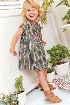 Stripe Embroidered Dress (3mths-6yrs)