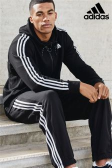 adidas Black/White 3 Stripe Essential Hoody
