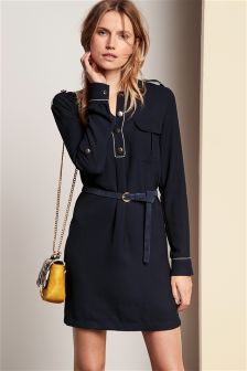 Military Style Shirt Dress