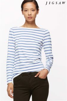 Jigsaw River Blue Retro Stripe T-Shirt