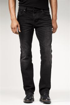 Jeans With Leather Detail