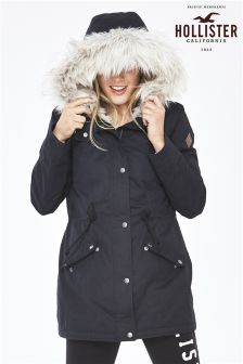 Hollister Black Fur Lined Parka
