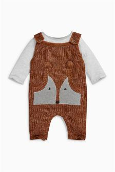 Fox Knitted Dungarees (0mths-2yrs)
