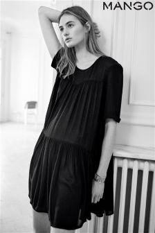 Black Mango Black Easy Short Sleeve Dress With Pockets