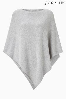 Jigsaw Grey Wool Cashmere Blend Rolled Poncho