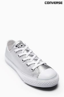 Converse Silver Metallic Leather Chuck Lo