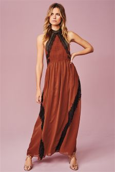 Vintage Lace Inset Maxi Dress