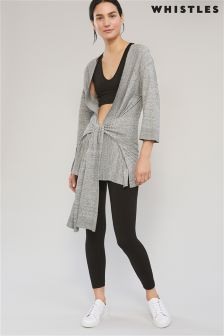 Whistles Grey Marl Rib Start Wrap Yoga Cardi