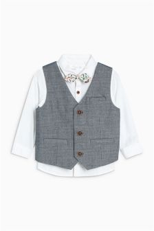 Textured Waistcoat, Shirt And Bow Tie Set (3mths-6yrs)