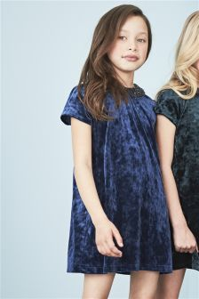 Velvet Sequin Collar Dress (3-12yrs)