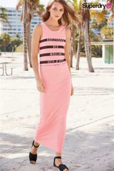 Superdry Coral Neon Mariner Stripe Maxi Dress