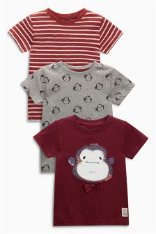 Short Sleeve Appliqué Monkey T-Shirt Three Pack (3mths-6yrs)