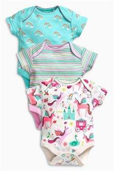 Unicorn Short Sleeve Bodysuits Three Pack (0mths-2yrs)