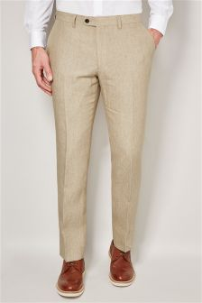 Sand Delave Linen Tailored Fit Trousers