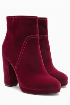 Velvet Platform Ankle Boots