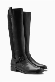 Signature Material Mix Leather Long Boots