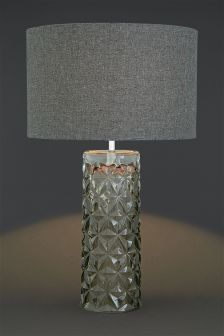 Smoked Cut Glass Table Lamp