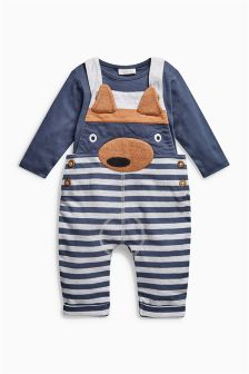 Stripe Fox Dungarees (0mths-2yrs)