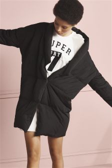 Mango Black Oversized Padded Jacket