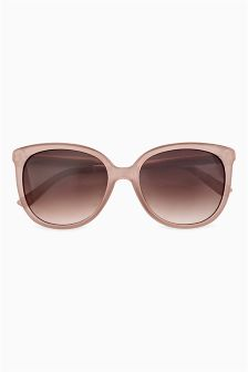 Etched Metal Arm Detail Cat Eye Sunglasses
