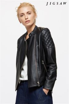 Jigsaw Black Leather Biker Jacket