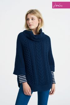 Joules French Navy Capability Cable And Stitch Poncho